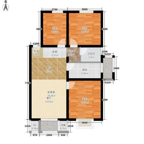 鸿福嘉苑3室0厅1卫1厨111.00㎡户型图
