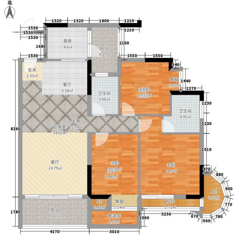金竹家园111.56㎡1期7幢标准层03面积11156m户型