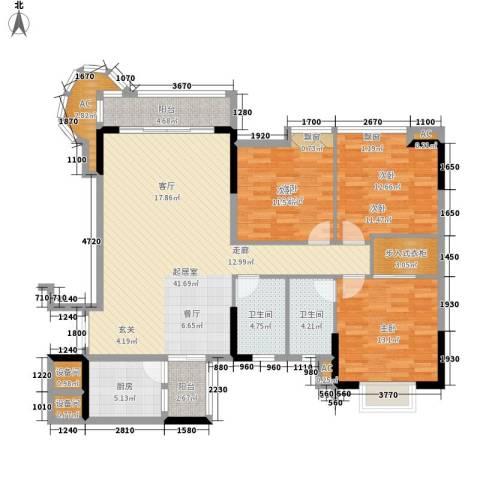 金竹家园3室0厅2卫1厨121.00㎡户型图