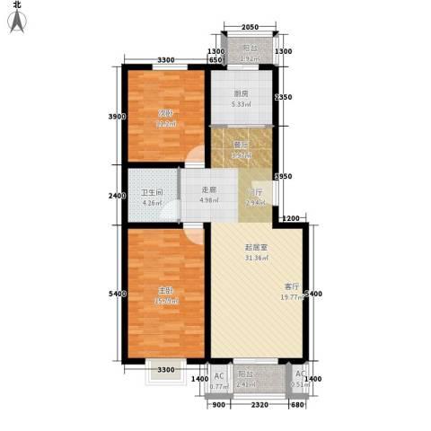 鸿福嘉苑2室0厅1卫1厨106.00㎡户型图