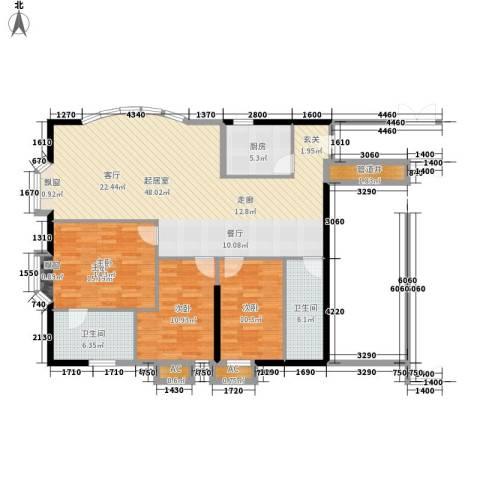 海珠半岛花园3室0厅2卫1厨119.00㎡户型图