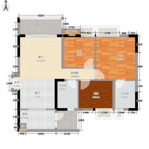 云山诗意3室0厅2卫1厨102.00㎡户型图