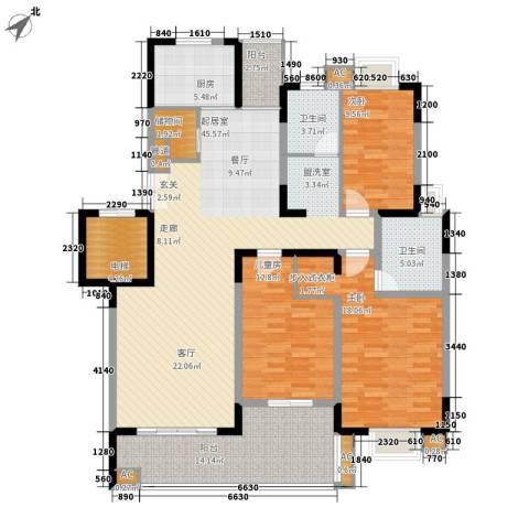 奥体新城木樨园3室0厅2卫1厨180.00㎡户型图