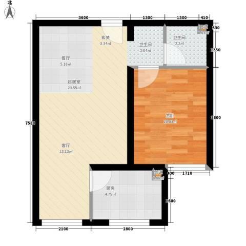 丰润御景嘉园1室0厅1卫1厨58.00㎡户型图