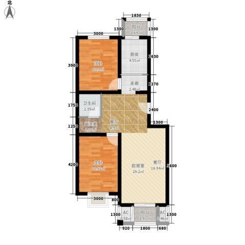 鸿福嘉苑2室0厅1卫1厨90.00㎡户型图
