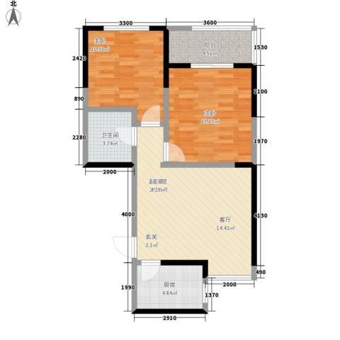 高新左岸2室0厅1卫1厨80.00㎡户型图