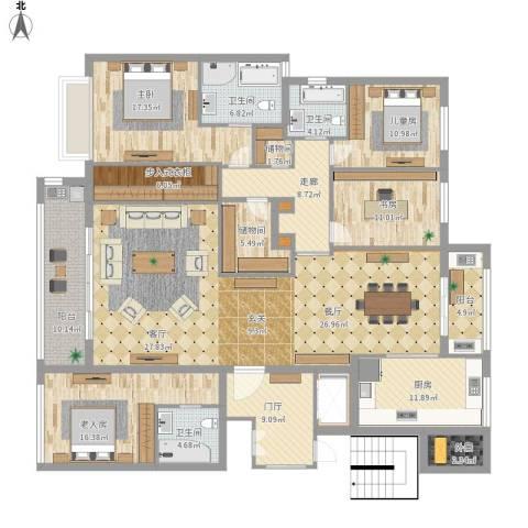 九龙仓雅戈尔铂翠湾4室1厅3卫1厨274.00㎡户型图