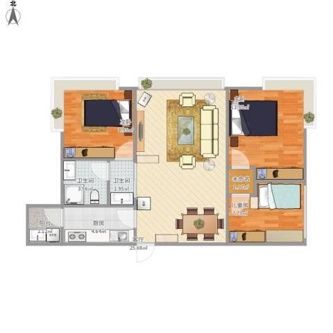 育才竹岛3室1厅2卫1厨92.00㎡户型图