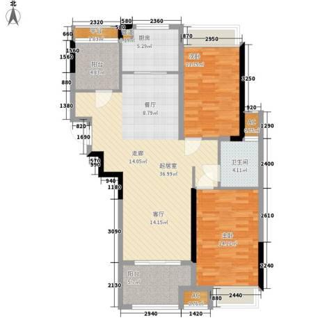 禹洲中央广场2室0厅1卫1厨96.00㎡户型图