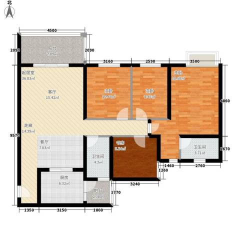 祈福水城4室0厅2卫1厨145.00㎡户型图