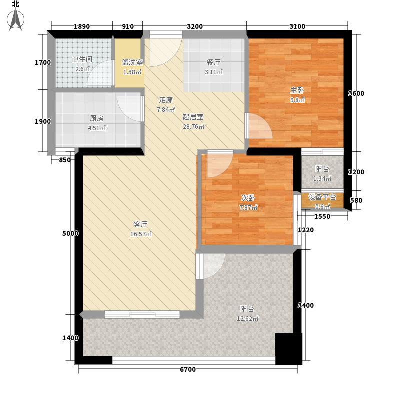 汉城壹号86.23㎡2号楼A7户型2室2厅