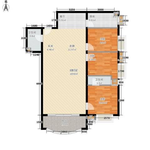 益鹏翠苑3室0厅2卫1厨132.00㎡户型图