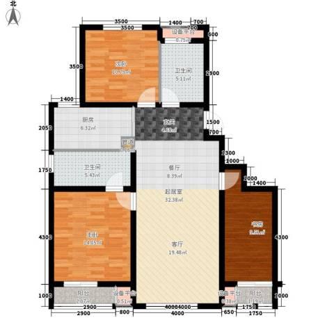 六合轩府3室0厅2卫1厨133.00㎡户型图