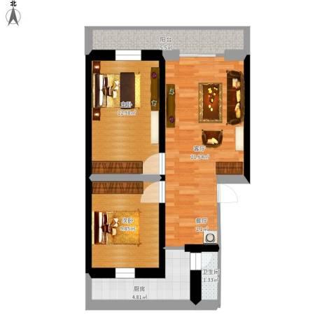 华夏世纪广场2室1厅1卫1厨67.93㎡户型图