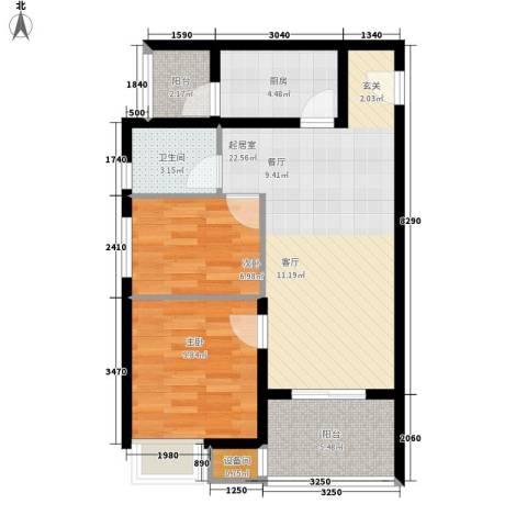 祈福水城2室0厅1卫1厨75.00㎡户型图
