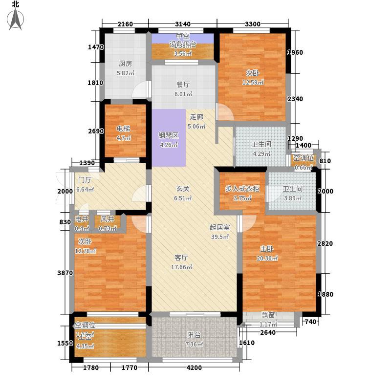 万和玺园138.00㎡F2(四~十六层)偶数层户型3室2厅