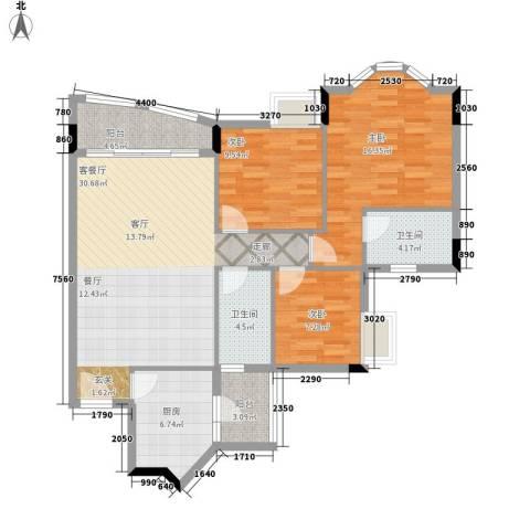 雅致花园3室1厅2卫1厨98.00㎡户型图