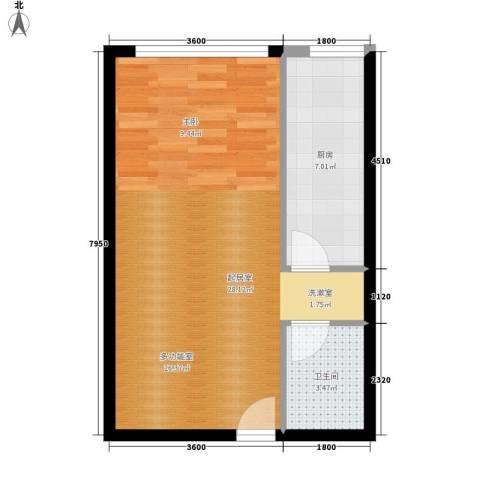 长房中庭国际1卫1厨58.00㎡户型图