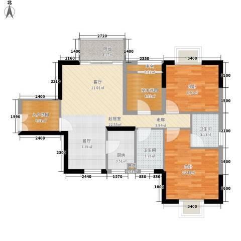 鸿基橄榄君庭2室0厅2卫1厨90.00㎡户型图
