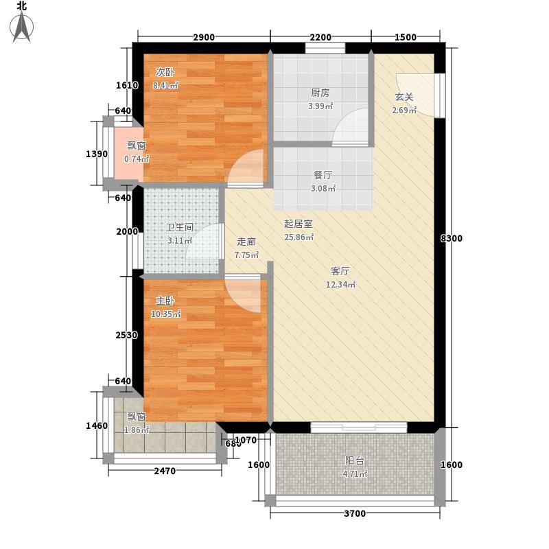 九龙豪庭73.57㎡(6)户型2室2厅