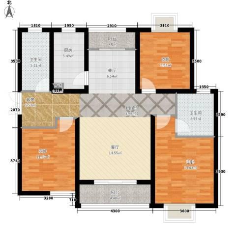 东尚观湖3室1厅2卫1厨136.00㎡户型图