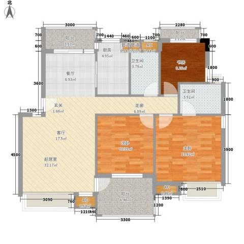 四季名苑3室0厅2卫1厨124.00㎡户型图
