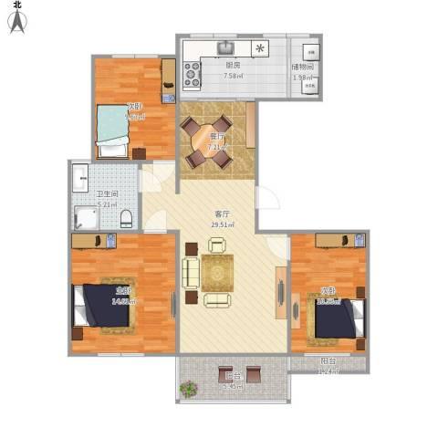 皇都佳苑3室1厅1卫1厨116.00㎡户型图