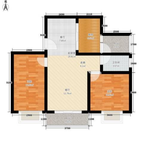 唐乐宫2室0厅1卫1厨66.00㎡户型图