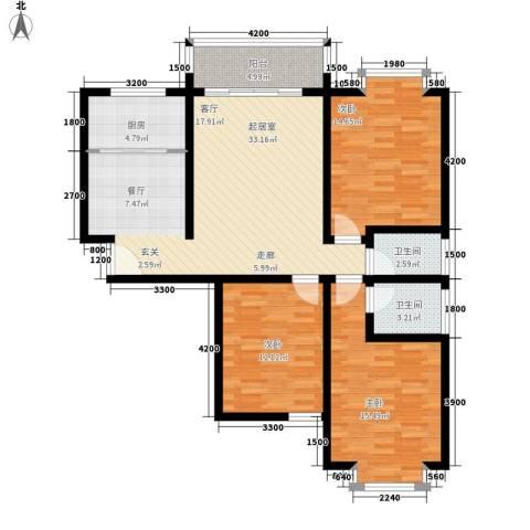 雁塔区公安局家属院3室0厅2卫1厨130.00㎡户型图