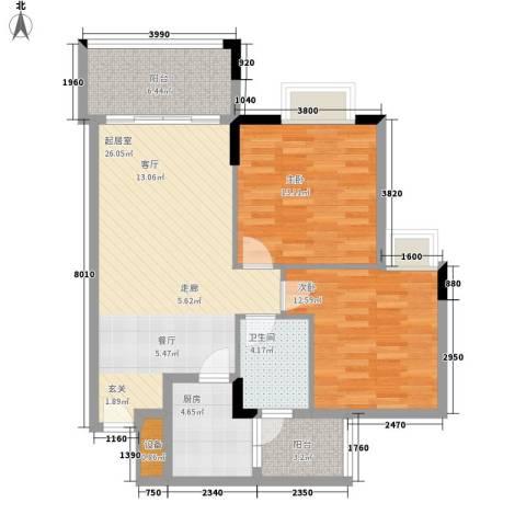 美林湖畔2室0厅1卫1厨81.00㎡户型图