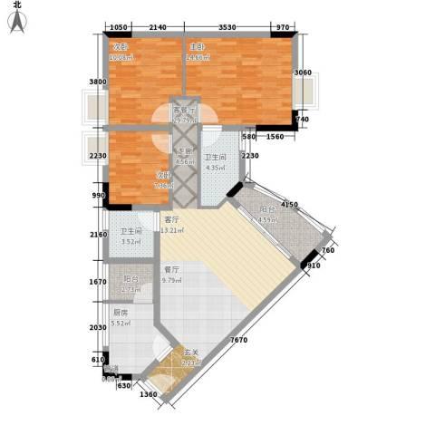雅致花园3室1厅2卫1厨95.00㎡户型图
