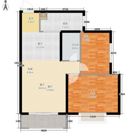 名都枫尚2室1厅1卫1厨121.00㎡户型图