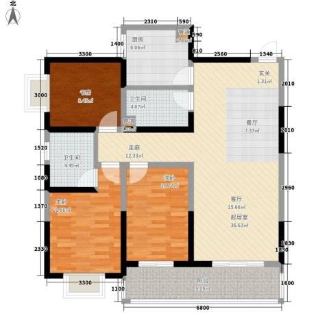 太白里3室0厅2卫1厨125.00㎡户型图
