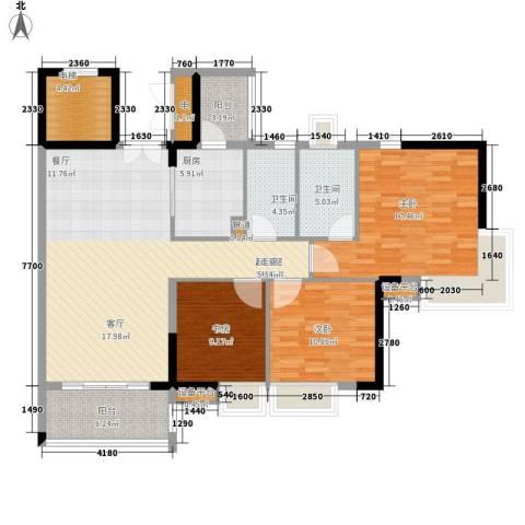 云山诗意3室0厅2卫1厨117.00㎡户型图