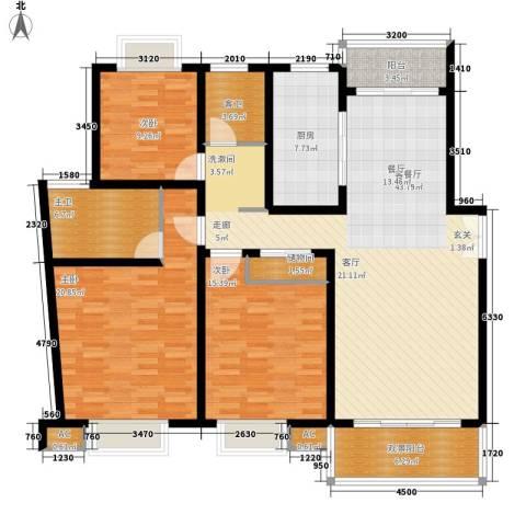 永达城市公寓3室1厅0卫1厨136.00㎡户型图