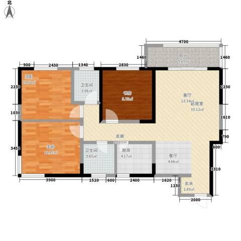 高新左岸3室0厅2卫1厨117.00㎡户型图
