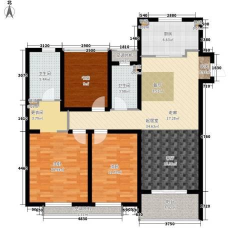 万科国际广场3室0厅2卫1厨110.00㎡户型图