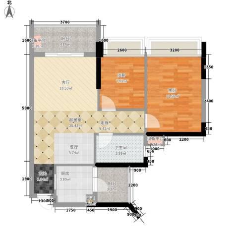 长安新世纪宜居2室0厅1卫1厨78.00㎡户型图