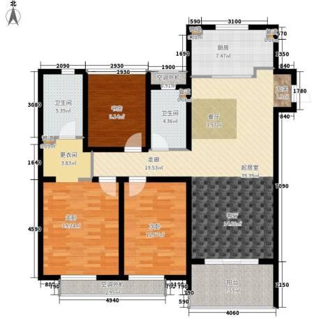 万科国际广场3室0厅2卫1厨120.00㎡户型图