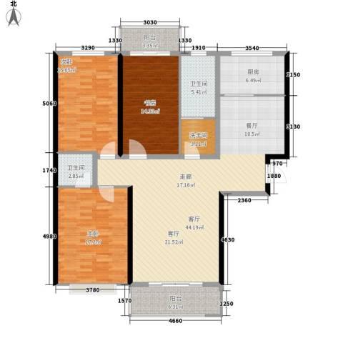 名都枫尚3室1厅2卫1厨166.00㎡户型图