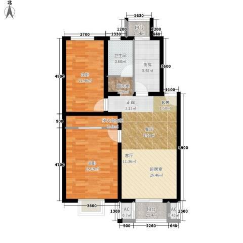 鸿福嘉苑2室0厅1卫1厨101.00㎡户型图
