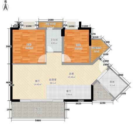 可逸豪苑2室0厅1卫1厨97.00㎡户型图