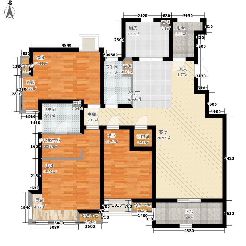 太湖国际社区138.00㎡B1户型3室2厅