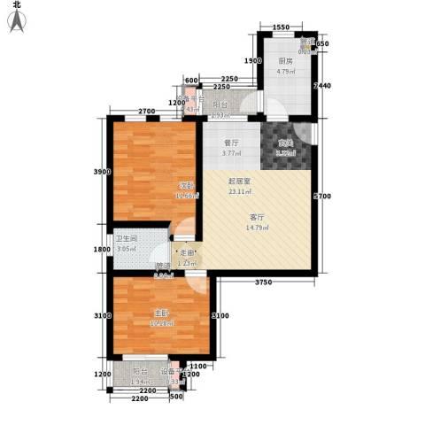 六合轩府2室0厅1卫1厨85.00㎡户型图