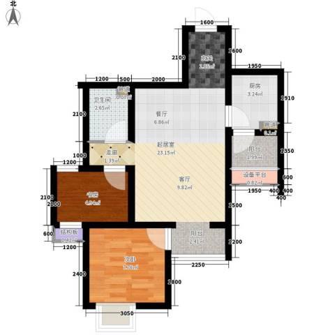 六合轩府2室0厅1卫1厨69.00㎡户型图