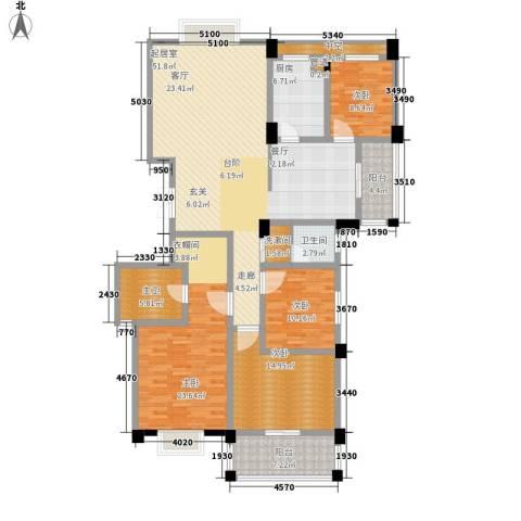 中江国际花城4室0厅1卫1厨158.00㎡户型图