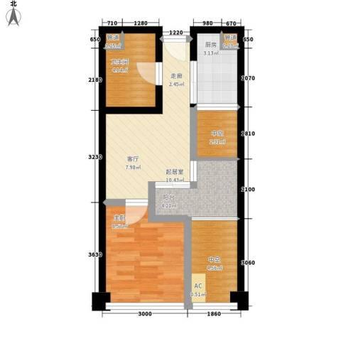 汇景世纪双子住宅1室0厅1卫1厨58.00㎡户型图