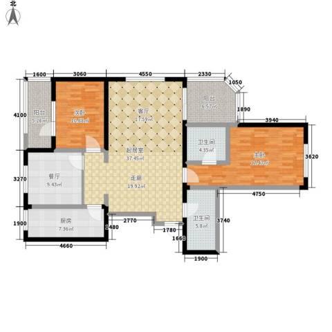 银座晶都国际2室1厅2卫1厨138.00㎡户型图
