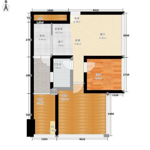 汇景世纪双子住宅2室0厅1卫1厨82.00㎡户型图