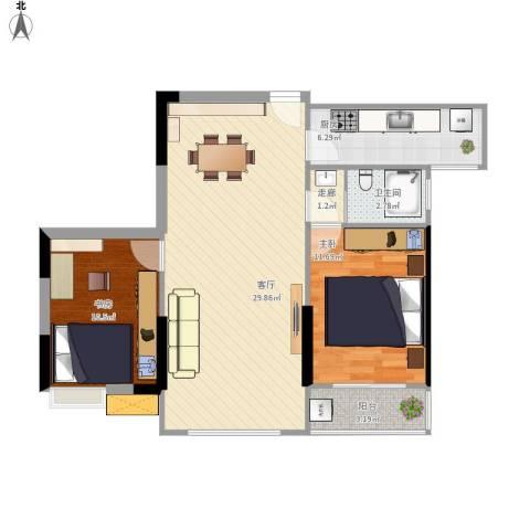 鑫远逸园2室1厅1卫1厨90.00㎡户型图